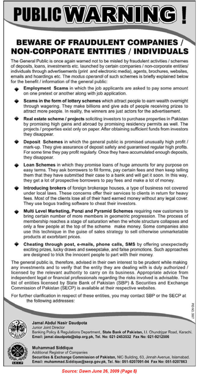 Beware of Fraudulent Companies / Non-Corporate Entities / Individuals - SECP & SBP Employment Scams Warning